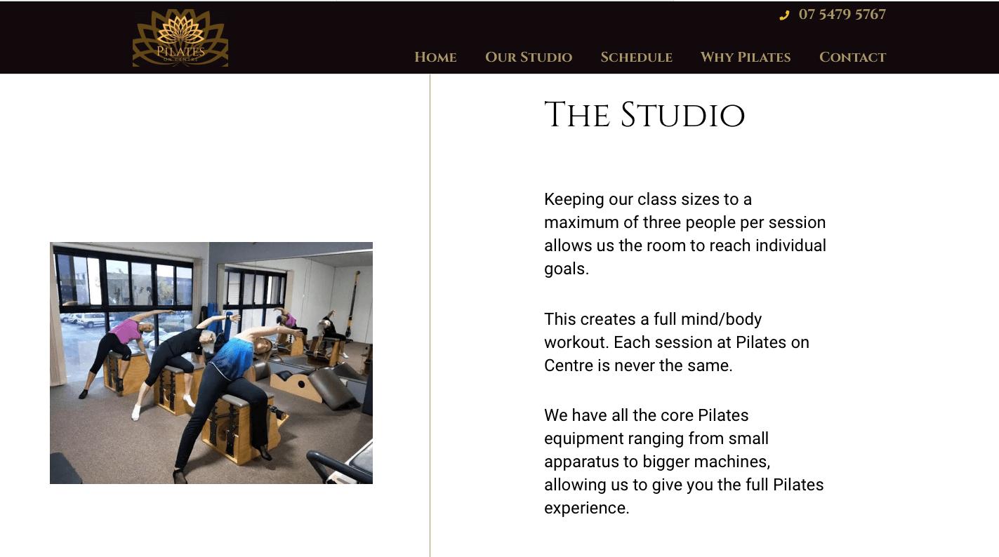Pilates on Centre Maroochydore website 1